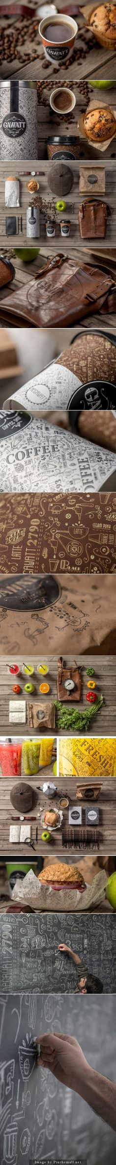Gawatt Take-out Coffee-shop Agency: Backbone branding Art director: Stepan Azaryan Designer: Karen Gevorgyan, Illustartor: Armenak Grigoryan Client: Gawatt Country: Armenia Brand Identity Design, Graphic Design Branding, Corporate Design, Logo Design, Corporate Identity, Coffee Shop Branding, Coffee Logo, Packaging Design Inspiration, Graphic Design Inspiration