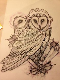 barn Owl Tattoos | ... Juliet...Tattoo,Draw and Life: Barn owl tattoo!! Barbagianni tattoo
