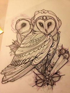 barn Owl Tattoos | ... Juliet...Tattoo,Draw and Life: Barn owl tattoo!! Barbagianni tattoo
