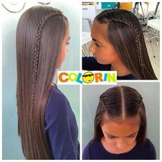 SANDRA ROJAS (@peinadoscolorin) | Instagram photos and videos Little Girl Hairstyles, Trendy Hairstyles, Straight Hairstyles, Braided Hairstyles, Gymnastics Hair, How To Draw Hair, Stylish Hair, Bridesmaid Hair, Short Hair Styles