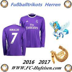 Neue Fussball Trikots Real Madrid Lila Lange Ärmel (RONALDO 7) Auswärts Saison 2016 2017 Billig