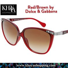 Gradient red acetate cat-eye frame. Metal and acetate arm with metallic designer logo. Brown lenses.  Available at www.khayashopping.com  #OnlineShopping #SunglassesWomen #Harare