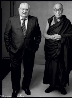 Nobel Peace Prize recipients Mikhail Gorbachev and His Holiness the 14th Dalai Lama, at the 12th World Summit of Nobel Peace Laureates in Chicago, photographed by Annie Leibovitz.