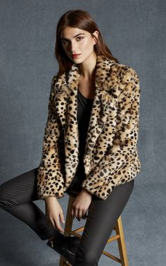 """While all the girls get their bombers embroidered, I'm working on showing my feminine side. I've never had a leopard coat, but I love that Karen Millen's Leopard Print Coat, Karen Millen, Different Styles, Fur Coat, Jackets For Women, Feminine, Fashion Outfits, Shopping, Clothes"