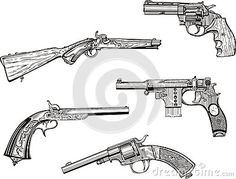 Set of old revolvers and pistols by Rocich, via Dreamstime