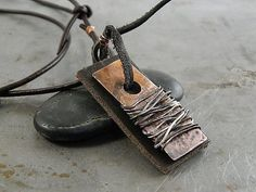 Wire Wrapped Copper and Leather Tag Handmade Necklace by Trijoux, $43.00
