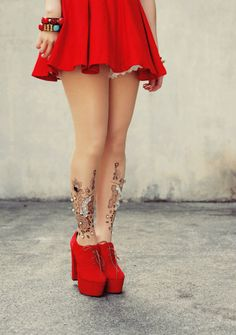 baroque tights & bright red