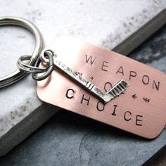 **Christmas idea!! HOCKEY Weapon of Choice Stamped Keychain alt charms by riskybeads, $14.95