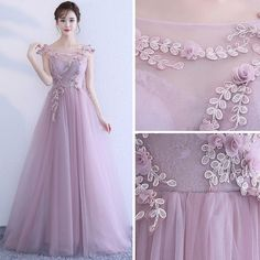 Elegant Lavender Evening Dresses 2017 A-Line / Princess Scoop Neck Sleeveless Appliques Flower Floor-Length / Long Ruffle Backless Formal Dresses Beautiful Prom Dresses, Elegant Dresses, Nice Dresses, Wedding Dress Prices, Wedding Dress Boutiques, Ball Gowns Prom, Homecoming Dresses, Lavender Bridesmaid Dresses, Grey Prom Dress