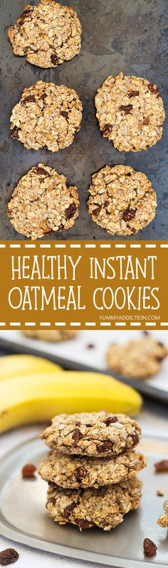 These Instant Oatmeal Cookies make a perfect healthy breakfast or snack. Packed with bananas, sunflower seeds, raisins, and coconut, they are also easy and quick to make! #glutenfree #vegan   yummyaddiction.com