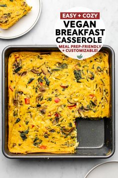 Tofu and chickpea flour combine to make this hearty and protein-packed vegan breakfast casserole! Switch up the veggies for a variety of flavor options. Vegan Breakfast Casserole, Vegan Casserole, Vegan Breakfast Recipes, Brunch Recipes, Vegetarian Recipes, Casserole Recipes, Tofu Breakfast, Sausage Breakfast, Breakfast Ideas