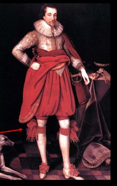 1620, Van Dyke beard, Falling ruff (no support), doublet with galligaskins or slops, garters, shoes with roses and heels. Cape is folded back to show the ...