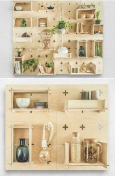 XO Collective Wall System consists of functional wall panels and durable plywood shelves. It allows you to organise your home office, kitchen area, hallway or your child's bedroom in. Kitchen Pegboard, Ikea Pegboard, Painted Pegboard, Pegboard Display, Plywood Shelves, Wall Shelves, Etagere Design, Ideias Diy, Deco Design