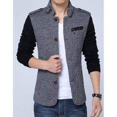 Woolen Yarn Full Sleeves Spliced Zipper and Epaulet Design Stand Collar Men's Slimming Jacket - 2019 Mens Casual Blazer Jacket, Blazers For Men Casual, Winter Shirts For Men, Waistcoat Men, Slim Fit Jackets, Mens Fashion Suits, Men Dress, Menswear, Full Sleeves