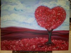 Heart Tree in Red Field 18x24 Acrylic on Canvas