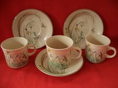 You are bidding on three Royal Tudor - Grindley of Stoke - Staffordshire England - Fine English Ironstone - ' Springtime ' - cup and saucers Condition: very good used condition - no chips cracks or r