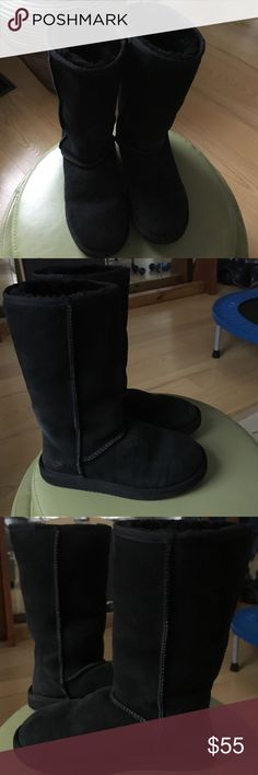 Ugg look alikes. They're actual sheepskin in & out VERY Warm⛄️😳. Like new condition can fit up to 8 or 8.5 snug. I probably bought at Costco, and KIRKLAND brand. Good quality. UGG Shoes Winter & Rain Boots