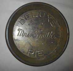 Vintage Tin Pie Plate Mrs Smiths Deluxe Pie Pan Nice large size & Vintage New England Flaky Crust 10 Cent Table Talk Pie Tin- Pie Pan ...