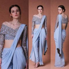 Indo western dresses for girls are a trending Outfit among girls and women. Adore the best indo western dresses for girls and ladies with us. Dhoti Saree, Saree Gown, Anarkali, Indowestern Saree, Lehenga Saree, Indian Fashion Trends, Indian Designer Outfits, Designer Dresses, Designer Saree Blouses