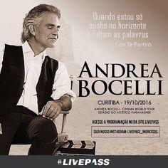 """Imperdível, especial, inesquecível. O tenor italiano Andrea Bocelli, ao lado de orquestra, coral e artistas convidados, cantará seu repertório do último disco, """"Cinema"""", lançado em outubro de 2015, com grandes clássicos do cinema de todos os tempos. #AndreaBocelli #Tenor #Cinema #DoutorJivago #LoveStory #OPoderosoChefão #AVidaéBela #Gladiador #Bonequinhadeluxo #WestSideStory #Evita #Livepass"""