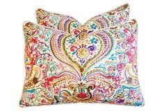 Colorful Cotton & Linen Pillows, Pair