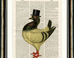 Lord Pigeon Bird in Top Hat - vintage image printed on a page from a late 1800s Dictionary Buy 3 get 1 FREE