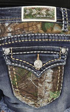 Grace in LA Women's Medium Wash with Camo Pockets Button Down Pocket Shorts | Cavender's