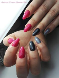Bright pink black and grey nails - hair and beauty eye makeup ideas to try - nail art design ideas Gray Nails, Love Nails, How To Do Nails, Fun Nails, Pink Shellac Nails, Pink Black Nails, Violet Pastel, Nagellack Trends, Garra