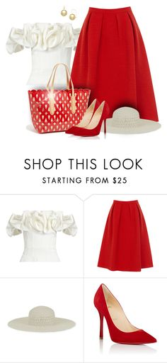 """* Sunday Best in Red & White *"" by cre8ivesoul58 ❤ liked on Polyvore featuring Brock Collection, Oasis, Sondra Roberts, ále by Alessandra, Christian Louboutin, chic, white, red, Pumps and Glamour"