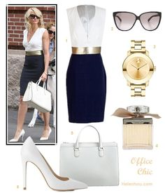 how to wear black and white; What to Wear to Work; summer office wear 2013; Cameron Diaz, Victoria Beckham, colorblock dress, white bag, white pump, white blouse, black blazer, black pants,black pump, black clutch;   On Cameron Diaz: Martin Grant Dana black and white Dress with gold belt, Valextra Heritage Top Handle white Bag, Christian Louboutin white pump, gold watch, oversize sunglasses;  Alternatives:   Gucci Youngster Oversized Cat Eye Sunglasses,  Movado 'Bold' Round Bracelet Watch…