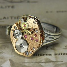 Woman's Steampunk Ring - Rose Gold Benrus Watch Movement with Original Crown and Bold Ruby Jewels - Fantastic Shine!!