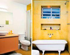 Uma banheira em estilo vitoriano é o grande destaque para este banheiro projetado pela arquiteta Adriana Yazbek: para dar o devido destaque à peça, a parede foi coberta com cimento queimado colorido verde-cana, que harmoniza com o piso de ladrilhos hidráulicos na mesma cor.