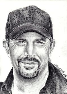 Kevin Costner : Pencil on Paper By Anush Semerjyan