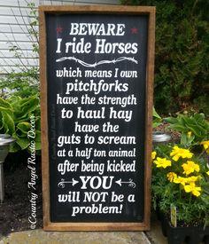 Vorsicht ich reiten Pferde rustikale von CountryAngelRustic