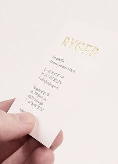 Ryger Advokatfirma business card with gold foil finish designed by Ghost.