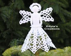 Crochet Christmas angel tree topper white with a by Draiguna