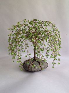 Weeping Willlow Tree Scuplture Beaded Decoration by MyTwistedArt