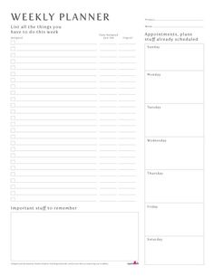 Undated Weekly Planner by Heather Ink
