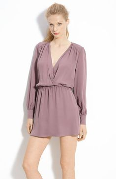 Parker Faux Wrap Silk Georgette Dress - perfect to layer with eggplant / purples for tonal dressing.