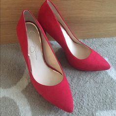 "Spotted while shopping on Poshmark: ""Red Jessica Simpson Heels 7.5""! #poshmark #fashion #shopping #style #Jessica Simpson #Shoes"