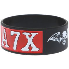 Avenged Sevenfold A7X Rubber Bracelet | Hot Topic ❤ liked on Polyvore featuring jewelry, bracelets, rubber bracelets, rubber bangles and rubber jewelry