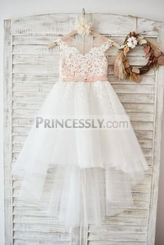 114ac305f72 Cap Sleeves Ivory Lace Tulle Hi Low Wedding Party Flower Girl Dress with V  Back   Beading
