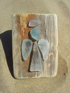 Sea glass Angels on driftwood. Found on Margate beach by dollydora, £20.00:
