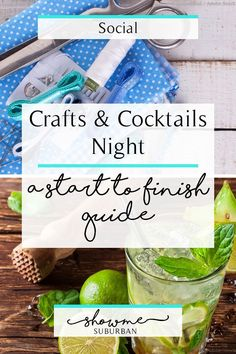 Take girls night to the next level by hosting a craft night and serving some fun cocktails using this start-to-finish guide! Learn which people to invite, find craft project ideas, and discover easy appetizers to serve! Girls Night Crafts, Craft Night, Crafts For Girls, Diy For Girls, Cocktail Night, Night Food, Craft Club, Diy Décoration, Craft Cocktails