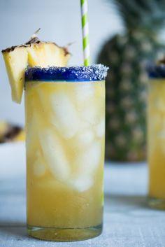 Vanilla Pineapple Margaritas (2 oz Silver tequila 2 oz triple sec 4 oz Pineapple juice 2 Tbs Vanilla Simple Syrup 2 tsp Lime Juice 2-4 Tbs pineapple puree)