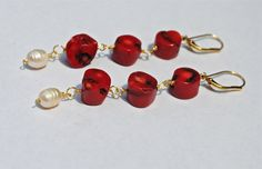 NAUTICAL  Red coral and freshwater pearl dangles - by BrAshNotions, $38.00