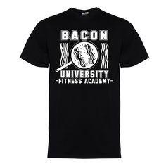 Bacon university men's t-shirt in white on black