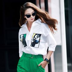 pop art printing Long Shirt green blouse dint luxury blouse 딘트