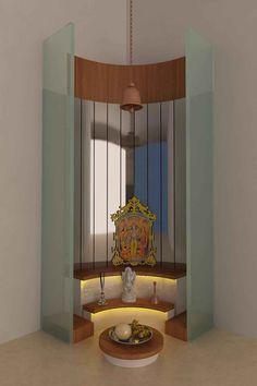 Modern Pooja Mandir, Design by Interior Designer: Kamlesh Maniya, Surat, India. Pooja Room Design, House Design, Room Design, Pooja Rooms, Temple Design For Home, Home Decor, Room Door Design, Home Temple, Pooja Room Door Design