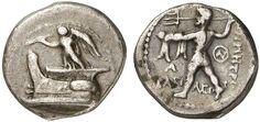 AR Hemidrachm. Greek Coins, Italy, Kingdom of Macedonia, Demetrius Poliorcetes, king 306-283 BC, Tarsus mint. Circa 298-295 BC. 2,12g. SNG Munich 1040. VF. Price realized 2011: 375 USD.
